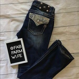 Miss Me embellished pocket boot cut jeans. Size 30